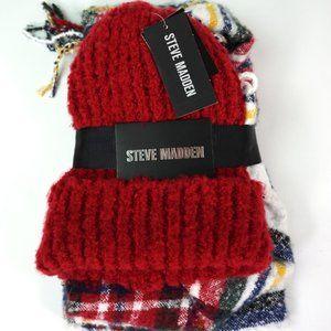 Steve Madden Scarf & Hat Gift Set Winter Pom Pom